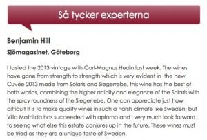 Ett av många fina omdömen av vinexperter!